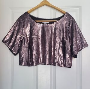 Ashley Nell Tipton Metallic Sequin Crop Top